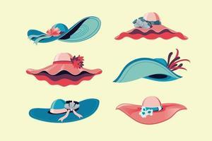 Colorful Derby Hats Set Vector Illustration