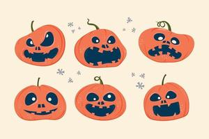 Set of Halloween scary pumpkins with expression