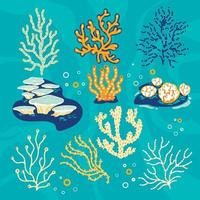 Set of corals and sea sponges Vector Illustration