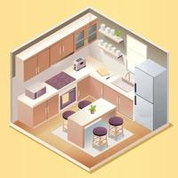 Modern kitchen room interior with furniture and household appliances in isometric style vector