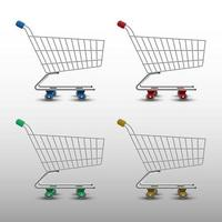 Realistic shopping cart isolated on white background, vector illustration