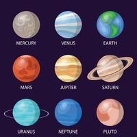 planetas del sistema solar, ilustración vectorial vector
