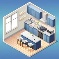 Modern blue kitchen room interior with furniture and household appliances in isometric style vector
