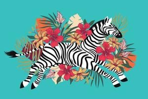 Wild zebra with exotic tropical flower background