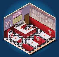 American vintage restaurant isometric composition vector
