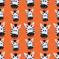 cute zebra animal head seamless pattern vector illustration