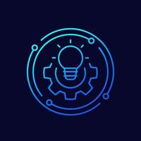 Solution line icon with light bulb vector
