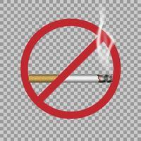 Signo de no fumar y cigarrillo realista con humo, ilustración vectorial vector