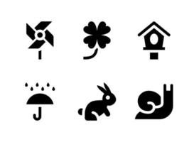 Simple Set of Spring Related Vector Solid Icons. Contains Icons as Pinwheel, Clover, Bird House, Rain and more.