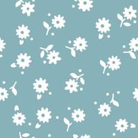 Seamless summer pattern with white flowers on blue background. Vector illustration.