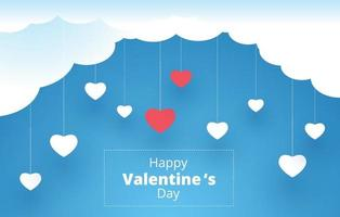 happy valentine's day, hanging hearts background. vector