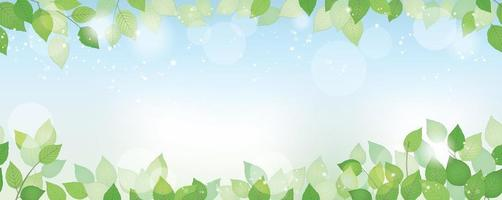 Seamless watercolor fresh green background with text space, vector illustration. Environmentally conscious image with plants, blue sky, and sunlight. Horizontally repeatable.
