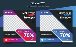 fitness gym square banner poster, social media post promotional banner vector