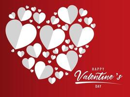 Happy valentines day lettering concept with flat heart background design vector