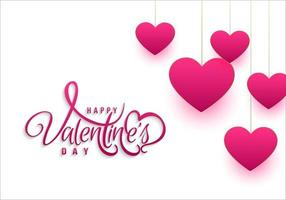 Simple valentines day with hanging hearts background design concept vector
