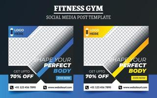 Fitness gym promotion social media post template vector