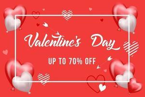 Ilustración de vector de fondo de concepto de diseño de venta de día de San Valentín