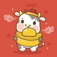 Zodiac of ox cartoon animal character traditional Happy Chinese new year holding gold ingots. Cute cow vector kawaii bull. Wish you good fortune on coming year.