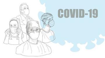 personas que usan máscaras, la contaminación del aire contamina el coronavirus covid-19. vector