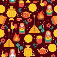 Shrovetide  seamless pattern. Russian holiday Shrovetide. Vector illustration.