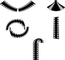 Conjunto de cinco formas creativas de tiras de película aisladas sobre fondo blanco. vector