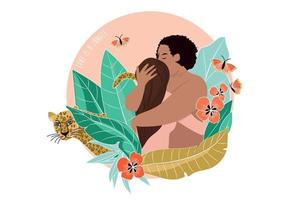 Romantic couple in the jungle, with butterfly, leopard and colored leaves. Embrancing lovers, free love. Love couple outdoors nature together, vector illustration. Couple in love man and girl on romantic jungle.