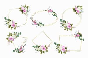 conjunto de hermosos marcos florales vector