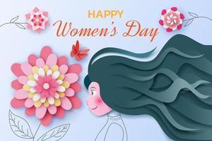día internacional de la mujer con niña y flores en papel vector