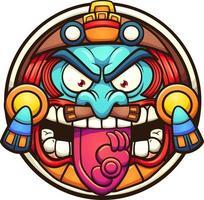 dibujos animados de sol azteca vector