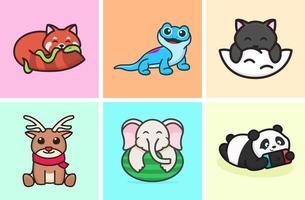 linda colección de ilustraciones de animales vector