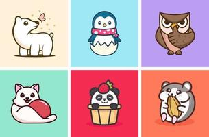 Cute Animal Illustration Collection vector