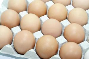 Brown eggs in a crate photo