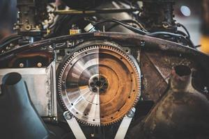 Half polished and half unpolished engine photo