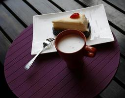 Milk and a slice of cake