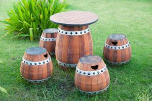 Tables and chairs made from barrels photo