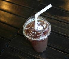 Top view of an iced coffee photo