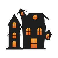 halloween dark castle isolated icon vector