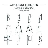 Advertising billboards and banner display icon set vector