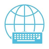 keyboard with globe silhouette style icon vector