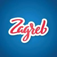 zagreb - nombre escrito a mano de la ciudad. pegatina con letras en estilo de corte de papel. vector
