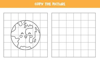 Copy the picture. Cute planet Earth. Logical game for kids. vector