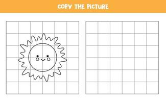 Copy the picture. Cute Sun. Logical game for kids. vector