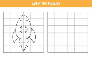 copia la imagen. cohete de dibujos animados. juego de lógica para niños. vector