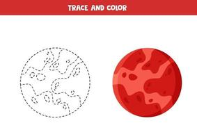 Trace and color cartoon Mars planet. Funny worksheet for kids. vector