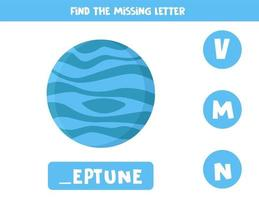 Find missing letter with cartoon Neptune. Spelling worksheet. vector