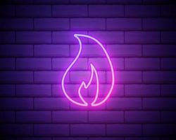 Simple fire flame icon. Pink neon style on brick wall background. Light icon vector