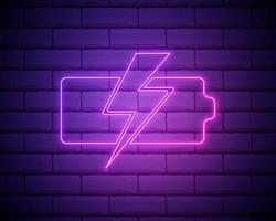cargando la batería con signo de rayo, icono de tecnología. estilo neón rosa sobre fondo de pared de ladrillo. icono de luz vector