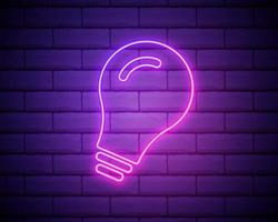 Neon led lamp flat icon. Illustration of modern eco lamp or fresh idea in the night. Isolated on bricked wall background line art. vector