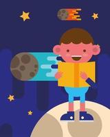 little school boy reading a book on the moon vector