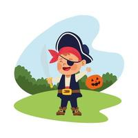 cute little boy dressed as a pirate character vector